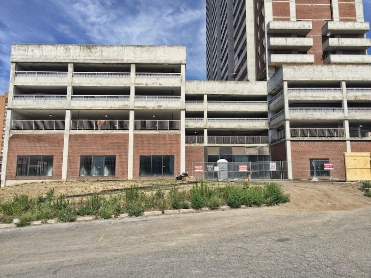 Not much is happening at the future Weston Hub apart from some rehabilitation of the parking garage that will provide the parking for residents of the 30 storey rental that will be placed on the old Farmers Market site.