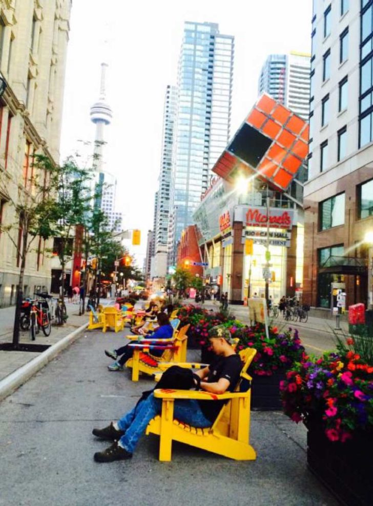 Toronto's example is from a temporary art project on John Street downtown.