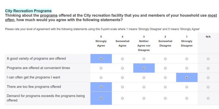 screenshot of survey
