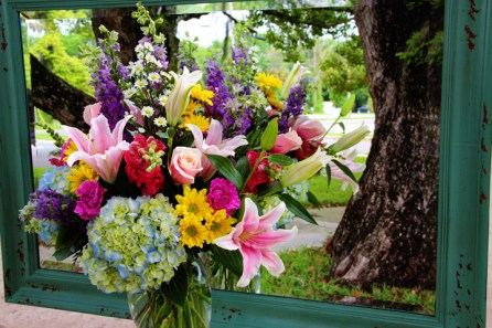 Starfighter lilies, larkspur, hydrangeas, and roses mixed with complimenting flowers and fillers. As pictured $100.00 - Standard $65.00