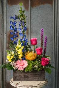 $65 A European inspired floral in a spectrum of colors.