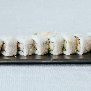 Seared Salmon, Cream Cheese, Avocado, Lettuce, Tobiko