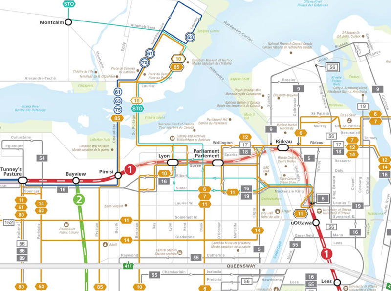 Oc Transpo Bus Routes In The Downtown 2018 Version