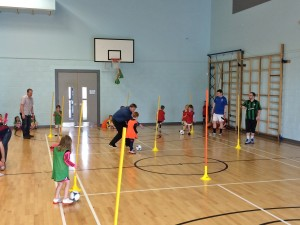 The P1 – 3 class being put through their paces on the slalom poles.