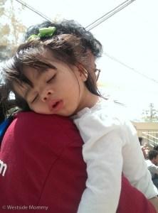 Aria, asleep on my aunt's shoulder
