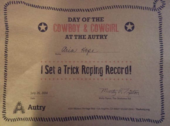 Certificate for participating in the Trick Roping Record event at the Day of the Cowboy and Cowgirl at The Autry