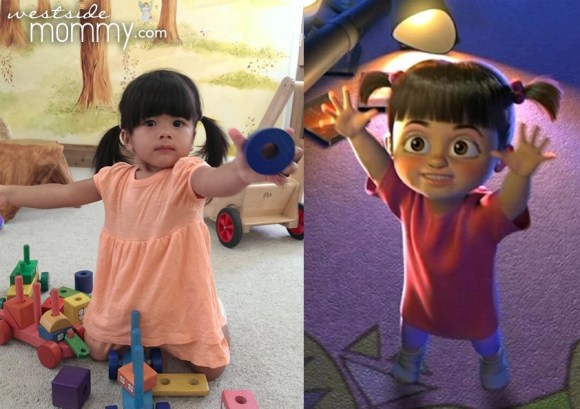 Aria next to Boo, from Monster's Inc.