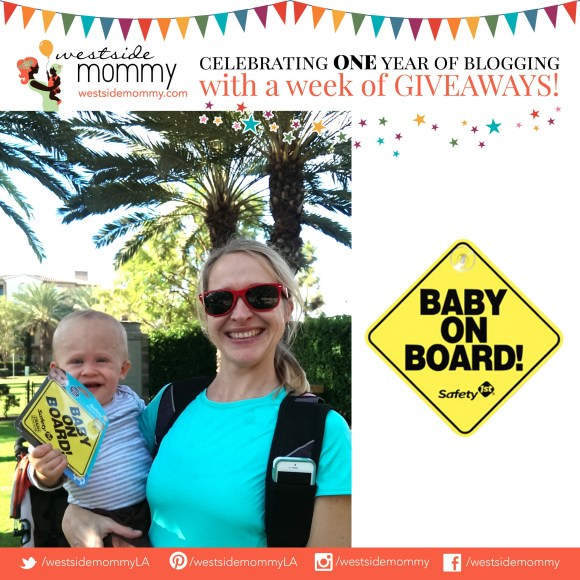 Helena, winner of Safety 1st Baby on Board sign