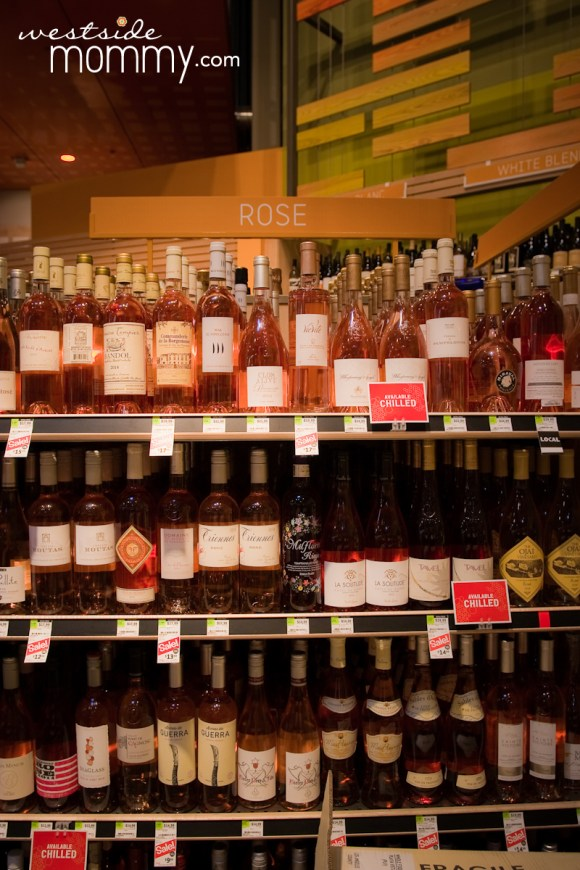 one of the largest selections of rose wine I've ever seen