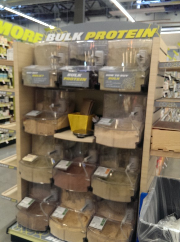the bulk protein powder section in the health aisle at Whole Foods Market Playa Vista