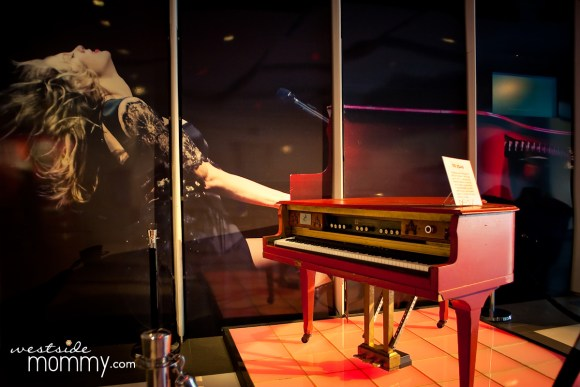 Taylor Swift's Red Piano from her RED tour. This is on display in the lobby (first floor) of the Grammy Museum