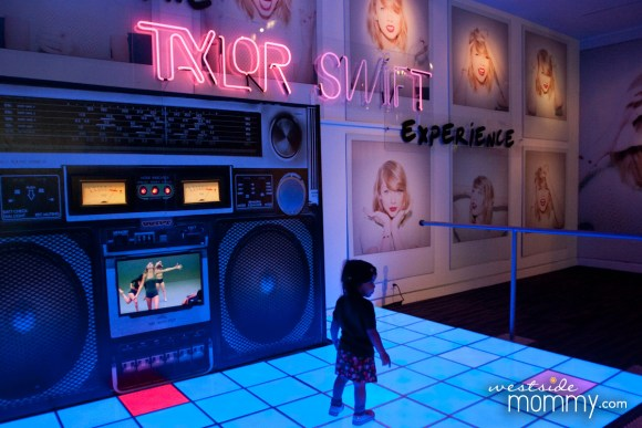 "I really liked this display - it's what you first see when you get off the elevator on the second floor at the Grammy Museum. Taylor Swift's ""Shake it Off"" plays on loop on the giant boom box and the light up floor is for dancing."