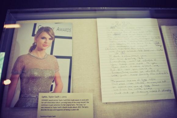 "Handwritten song lyrics from Taylor Swift's hit song ""22"""