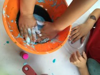 """We had a super fun and sticky time making slime for our """"Mindful Touching"""" sensory activity today! The children loved following step by step instructions to mix all the ingredients together in order to make the perfect concoction of slimy slime! It was a great lesson in mindfulness because the children really had to pay attention, make precise measurements, use teamwork, and practice patience to get things right. Slime provides endless hours of sensory fun and it can be used as a stress-reliever for kids and adults alike!"""