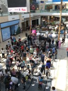 The crowd to meet Cheer Bear