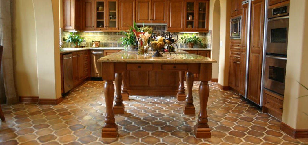 tile kitchen floor red clock concrete flooring westside and stone resistance to water in