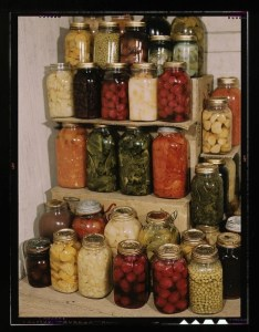 eating in season - stacked canned goods