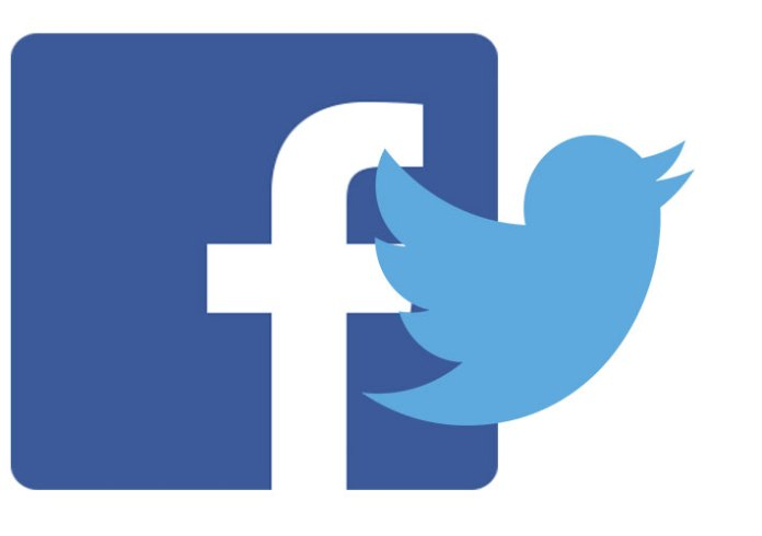 a combined mock up image of the Facebook and twitter logos