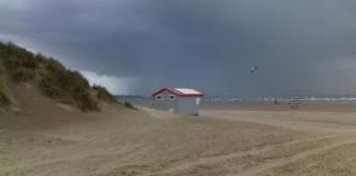 pembrey country park with an incoming storm