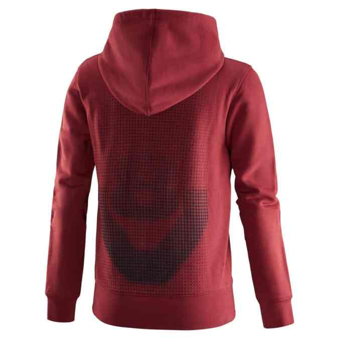 Womens red V8 hoodie back