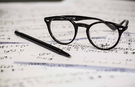 music and glasses image