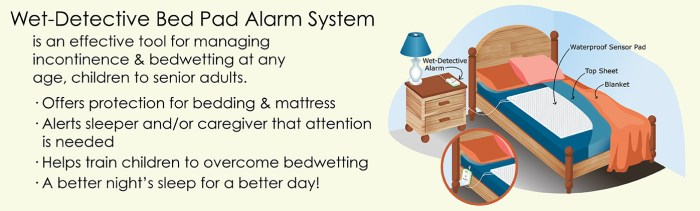 Wet-Detective Bed Pad Alarm System for managing incontinence/bedwetting at any age, children to senior adults.
