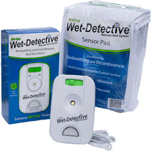 Wet-Detective Incontinence Kit with alarm unit, sensor cable, and one sensor bed pad.