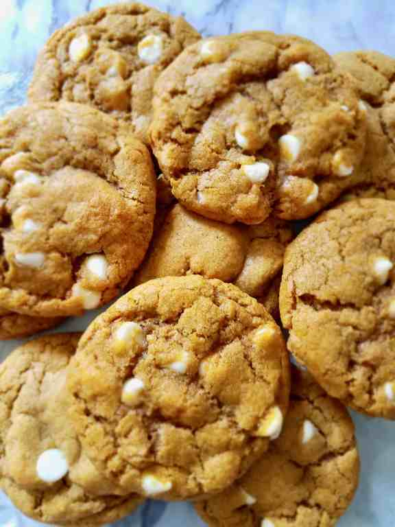 """A Fall favorite dessert in our house, these chewy, pumpkin, white chocolate chip cookies give a whole new life to the once only """"cakey"""" cookie. 