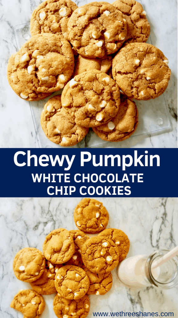 """A Fall favorite dessert in our house, these Chewy Pumpkin White Chocolate Chip Cookies give a whole new life to the once only """"cakey"""" cookie. They are a must have Fall treat! 
