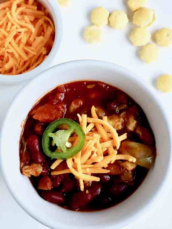 The Ultimate Vegetarian Chili - A hearty, spicy vegetarian chili made with caramelizedcabbage that gives a new spin on an old classic. - We Three Shanes