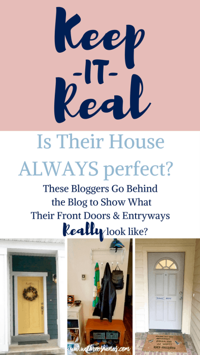 Colors, wreathes, benches, hooks, shoes...What's going on with the Shane sister's front doors and entryways? Are they Pinterest Perfect? You'll have to keep reading to find out! | We Three Shanes