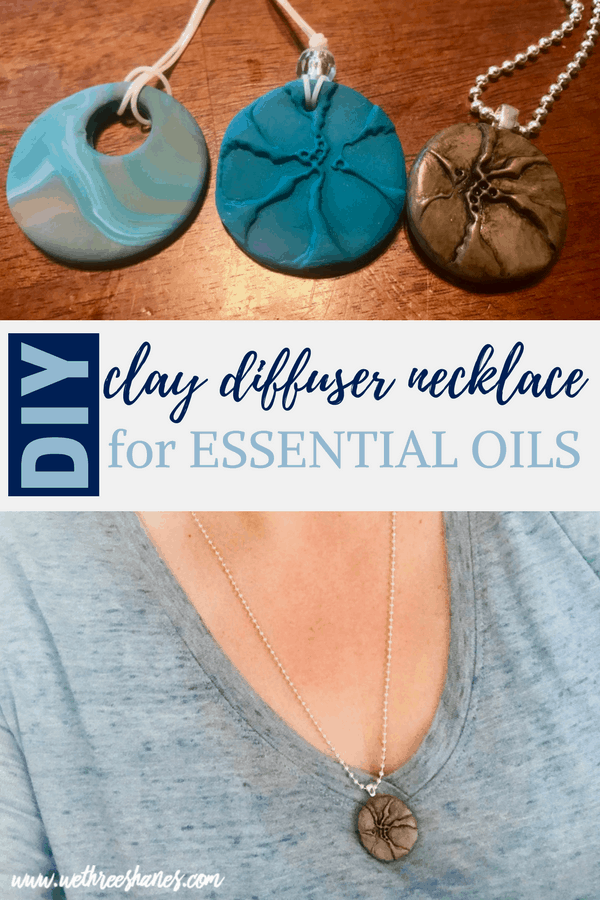 This stylish DIY Clay Diffuser Necklace for essential oils makes the perfect custom gift. It's incredibly frugal and easy to create so make one for yourself while your at it. Bring your favorite essential oils with you every where! Who doesn't need a little aroma therapy on the go? | We Three Shanes