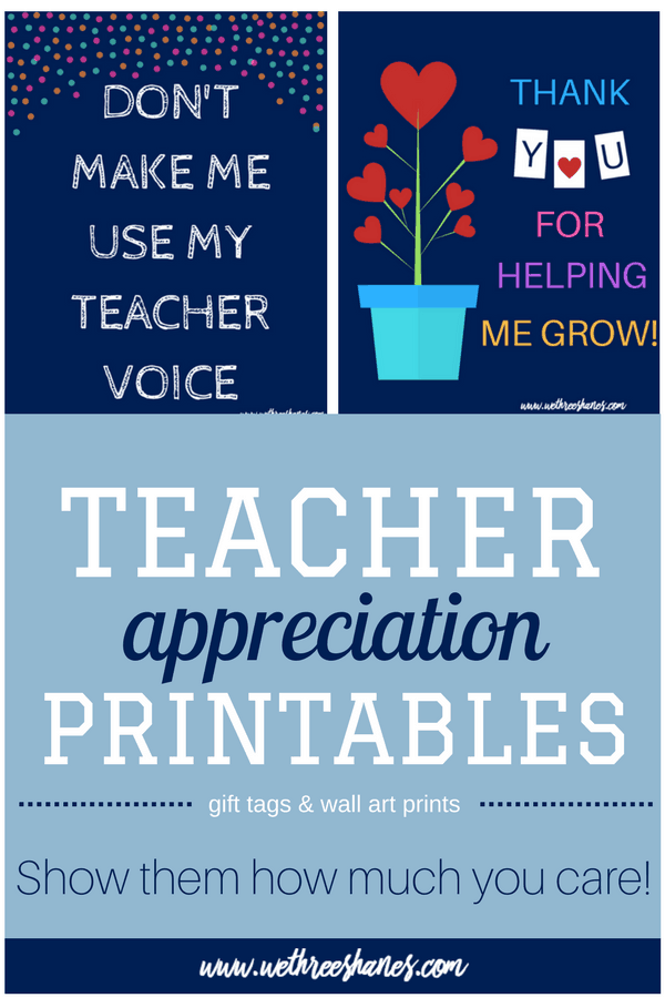 Teacher Appreciation week is coming up fast. We can't thank our teachers enough for everything they do but we can show them some love with these super cute and ridiculously simple FREE art prints. Not everyone has time or money to go all out for teachers. Now you're just a print away from a gift your teacher will love! | We Three Shanes