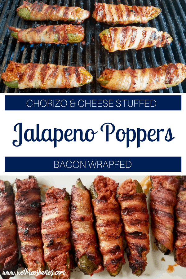 Looking for an easy appetizer recipe for your next barbecue? Stuffed jalapeño poppers are a must! Fresh jalapeños are filled with chorizo and cheese then wrapped with bacon and grilled to crispy perfection. These poppers are seriously addicting, making them a summertime cookout crowd pleaser. | We Three Shanes