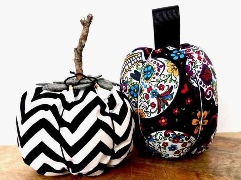 Ditch the store bought fabric pumpkins and make your own unique ones with this DIY Easy-Sew Fabric Pumpkin Tutorial. Just follow the simple steps and photos and soon you'll have your own perfect budget-friendly, Fall and Halloween decor.   We Three Shanes