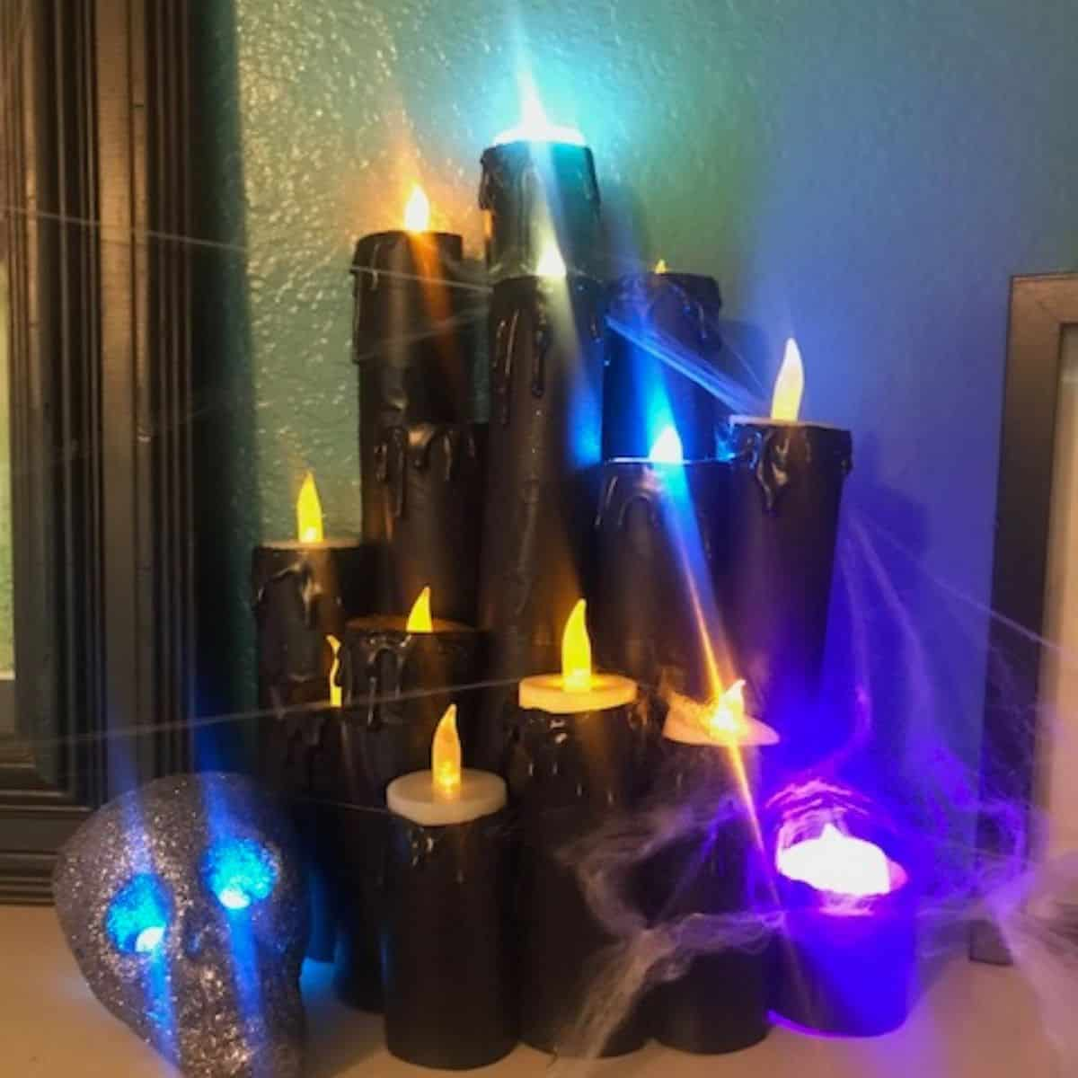 DIY Fake Halloween Toilet Paper Roll Candles