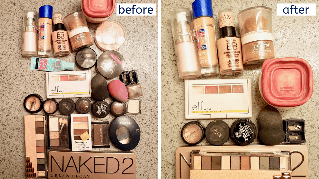 Learn how to downsize your makeup collection to just the essential with this easy to follow, step by step guide and helpful photos. Minimize makeup for a better beauty routine.| We Three Shanes