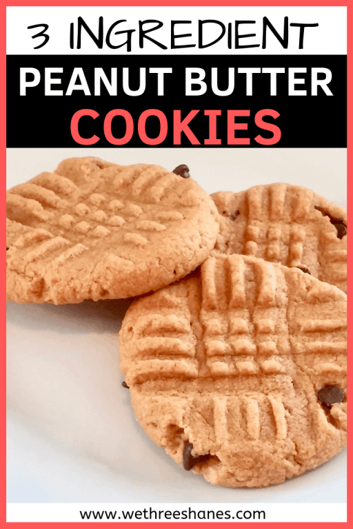 Easy Peanut Butter Cookies that can be made with only 3 ingredients you already have on hand. | We Three Shanes