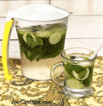 Cucumber Mint Infused Water is a refreshing way to stay hydrated this Summer. Check out this recipe and 16 other Flavored Water Recipes by clicking the link! | We Three Shanes