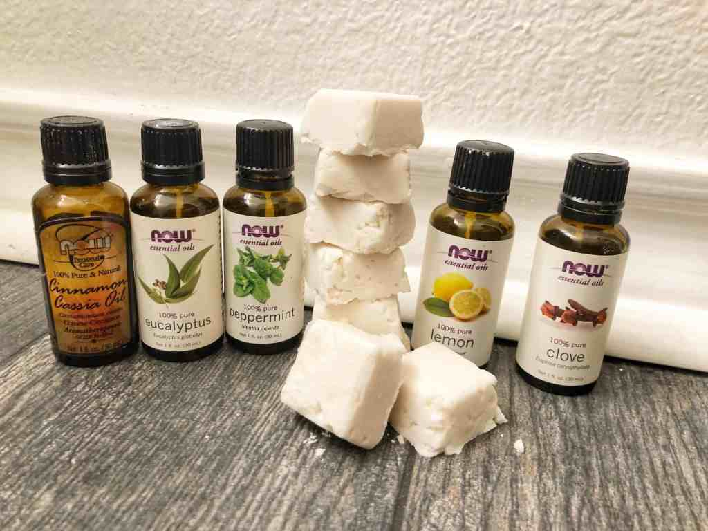 DIY Sinus Relief Shower Melts combines powerful essential oils with shower steam to give you soothing relief from congestion, helping you breathe easy.   We Three Shanes
