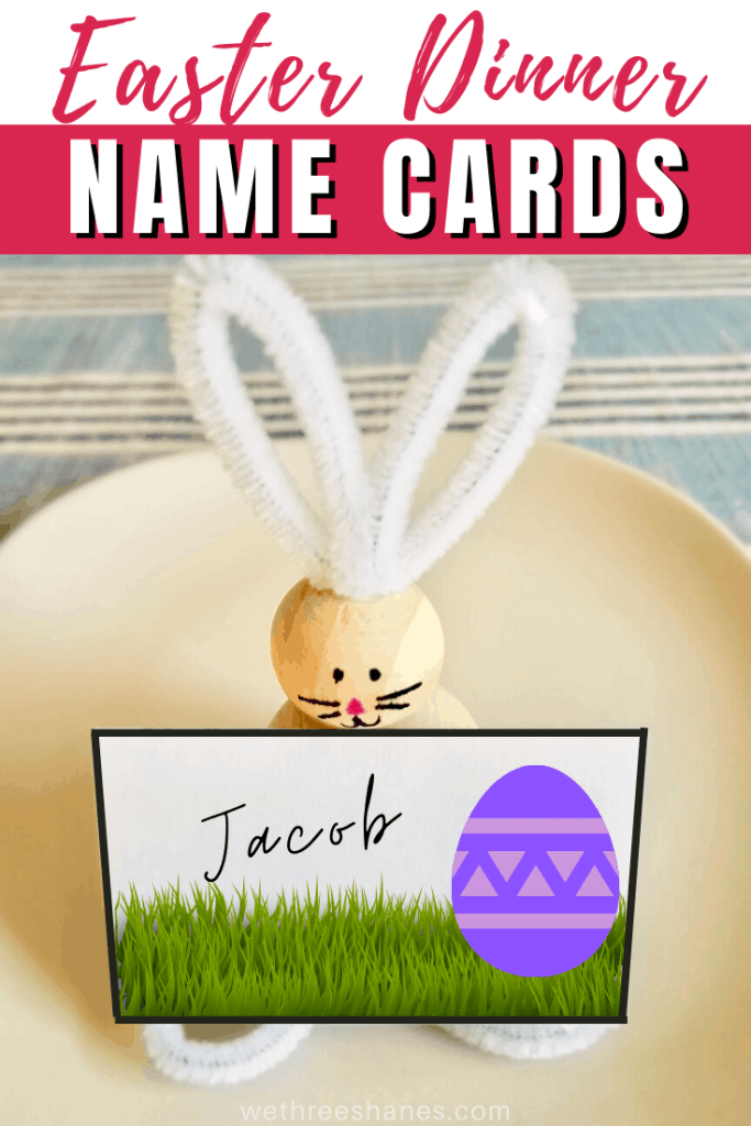 Welcome brunch or dinner guests to the table with these charming printable name cards and pipe cleaner bunny. Perfect for spring table decor for any Easter celebration. | We Three Shanes