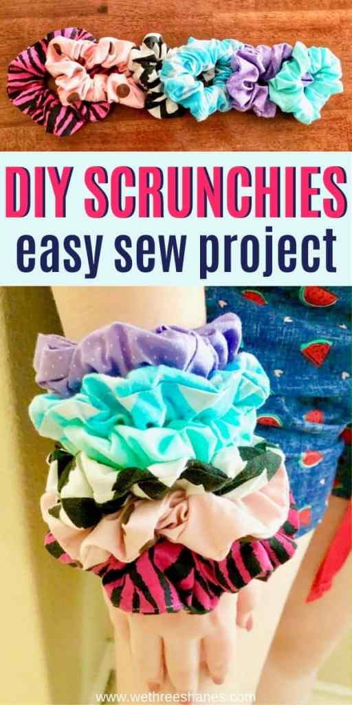 Making scrunchies is a fun and easy beginning sewing project to do with tweens and teens. Follow this step-by-step tutorial and you'll have adorable scrunchies in minutes! | We Three Shanes