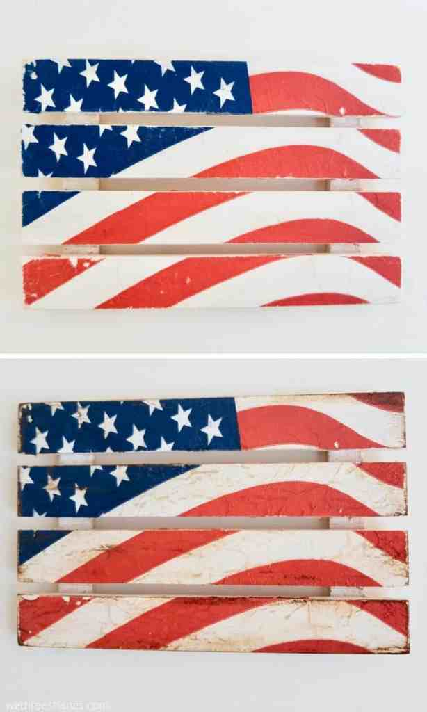 American Flag Pallet DIY using napkins and mod podge. All supplies found out the Dollar Store make this one adorable three dollar 4th of July craft. | We Three Shanes
