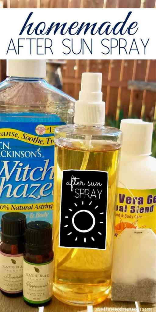 Get instant sunburn relief with this cooling homemade after sun spray.  Sooth painful skin with aloe vera, green tea, witch hazel and essential oils. Natural ingredients that promote fast healing. | We Three Shanes