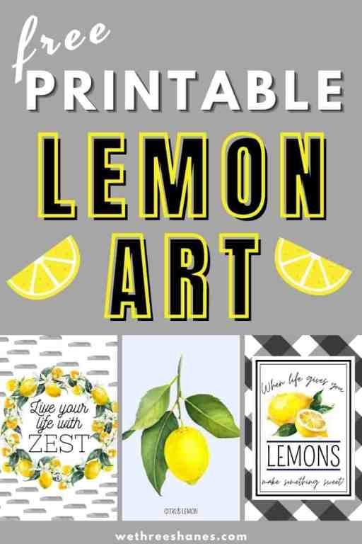 Free Lemon Art Prints for summer and spring decor. These free 🍋 lemon printables will add a pop of color and a perfect summertime feel to your home. Available in two popular sizes. Grab yours today! | We Three Shanes