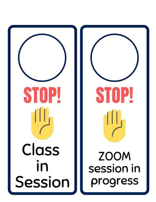Keep family members from walking in on remote learning classes in progress by putting these cute door knob hanger signs on kid's bedroom doors. | We Three Shanes