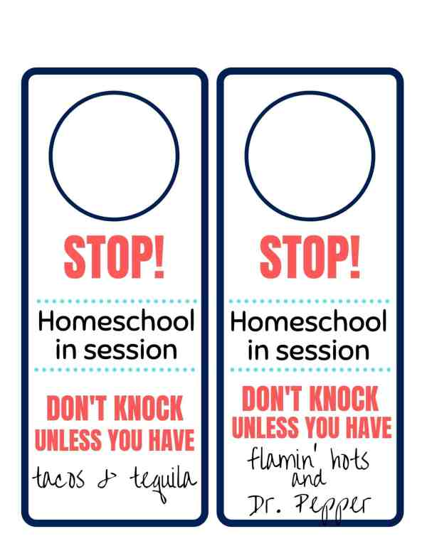 Grab these funny free printable signs and keep kids and people from knocking on your door while homeschool or remote learning are going on or at least get flamin' hots and Dr. Pepper out of it. 😁 | We Three Shanes