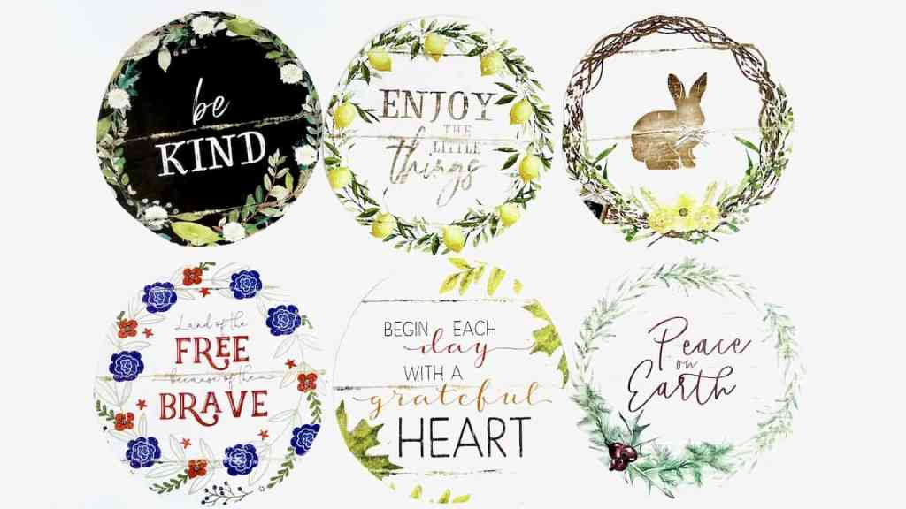 Be Kind, Enjoy the Little things, Bunny, Land of the Free Because of the Brave, Begin Each Day with a Thankful Heart, and Piece on Earth calendar pages cut to fit the middle of the charger plate.