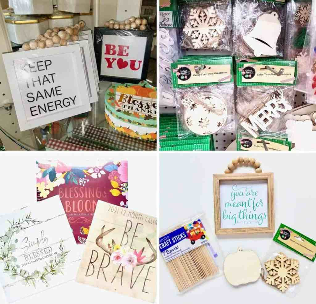 A wood bead sign and some cute calendars from the Dollar Tree are transformed into an interchangeable farmhouse sign you can use all year round. | We Three Shanes