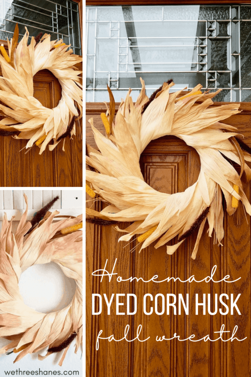 Learn how to make a colorful corn husk wreath with this easy to follow, step-by-step tutorial, with photos. A beautiful DIY wreath that will look great on your front door this fall season! | We Three Shanes
